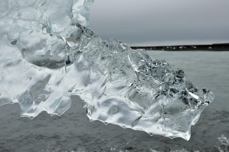 Clear ice crystal.