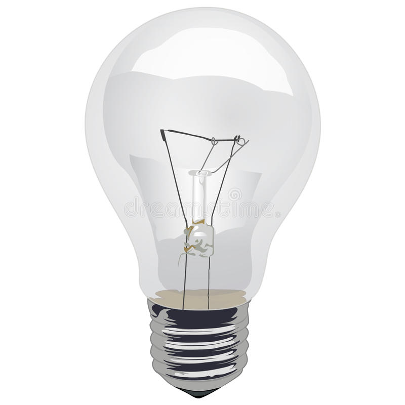 Clear Incandescent Light Bulb. A illustration of a screw-in, Clear Incandescent Light Bulb vector illustration