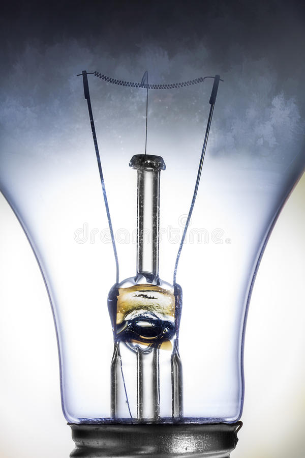 Clear Incandescent Light Bulb Isolated on White. Clear Incandescent Light Bulb Macro Isolated on White royalty free stock image