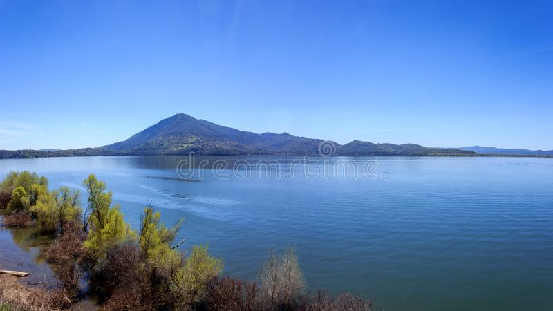 Clear Lake Panorama. A multi-shot panorama of Mt Konocti overlooking Clear Lake, California, USA royalty free stock photography