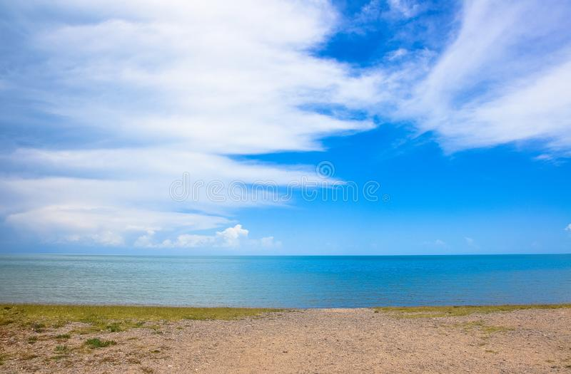 Lake water and blue sky. Clear lake water with blue sky stock photography