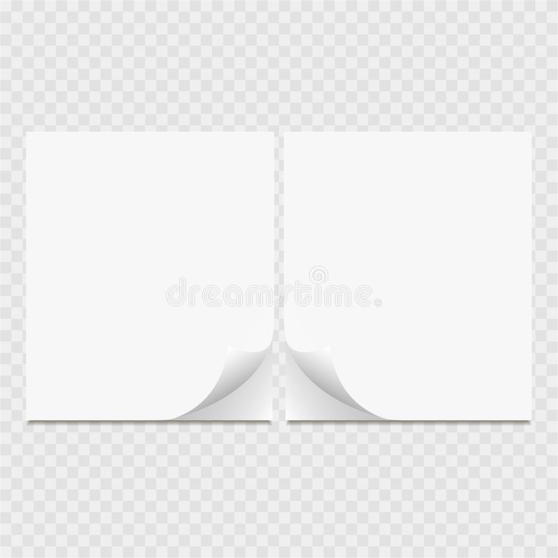 Clear list of paper. Curl page with shadow. Grey background stock illustration