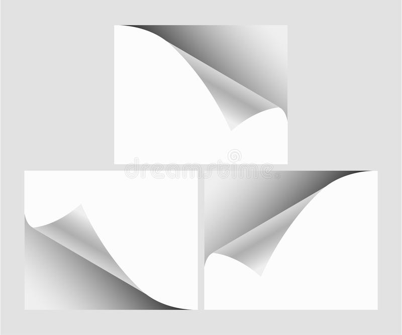 Clear list of paper. Curl page with shadow. Grey background. Clear list of paper. Curl page with shadow on grey background vector illustration