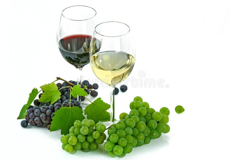 Clear Long Stem 2 Wine Glass With Blue Green Grapes Below royalty free stock images