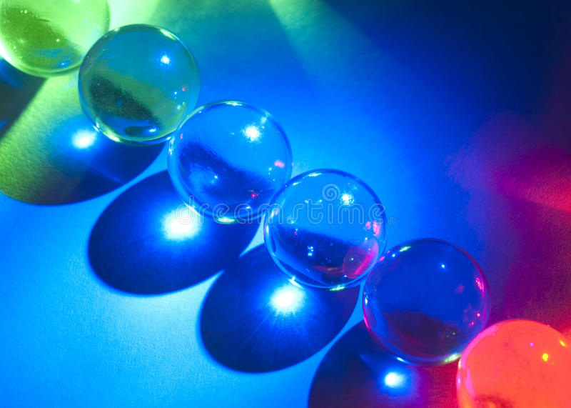 Clear Marbles and LED Lights royalty free stock photo
