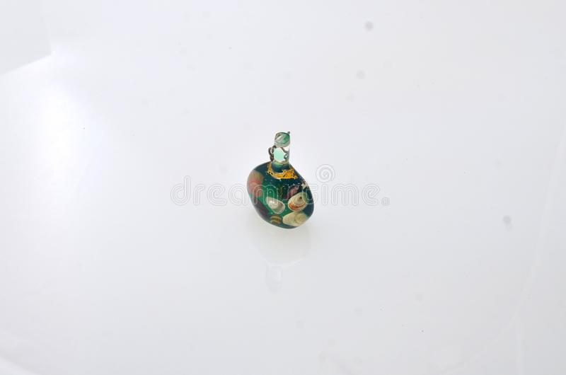 Clear mini small bottles made of glass stock image