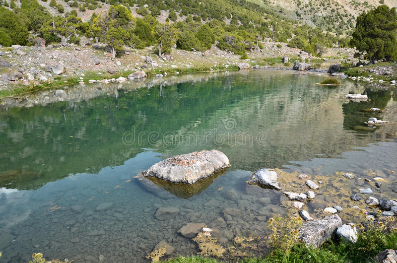 Clear mountain lake royalty free stock photography