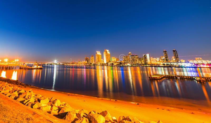 Clear night over San Diego downtown. San Diego downtown seen from Coronado island, California royalty free stock image