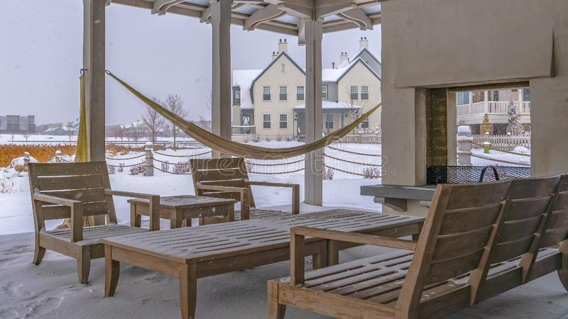 Clear Panorama Snowy patio of a clubhouse in Daybreak Utah stock photography