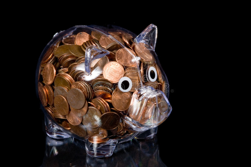Download Clear Piggy Bank Full Of American Pennies Stock Image - Image: 1976401
