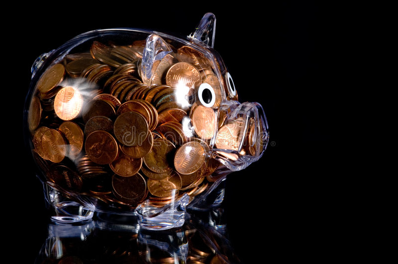 Download Clear Piggy Bank Full Of American Pennies Stock Image - Image of clear, bank: 4593551
