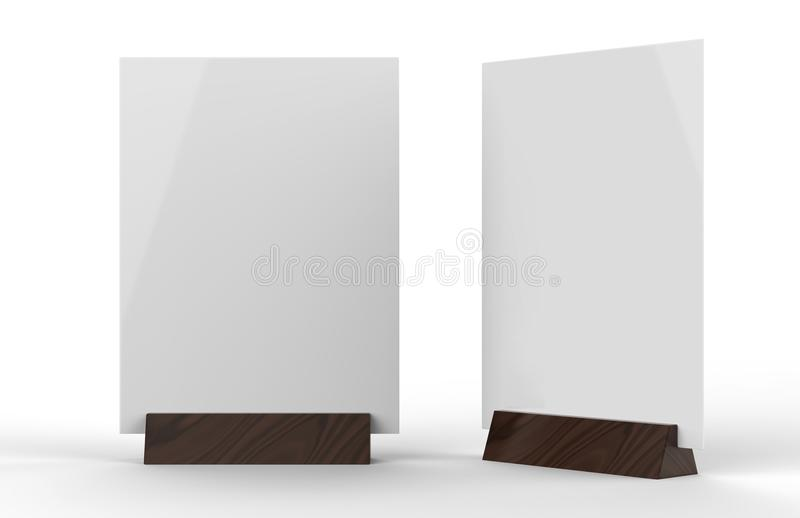 Clear plastic and acrylic table talkers promotional upright menu table tent top sign holder table menu card display stand picture. Frame for mock up and vector illustration