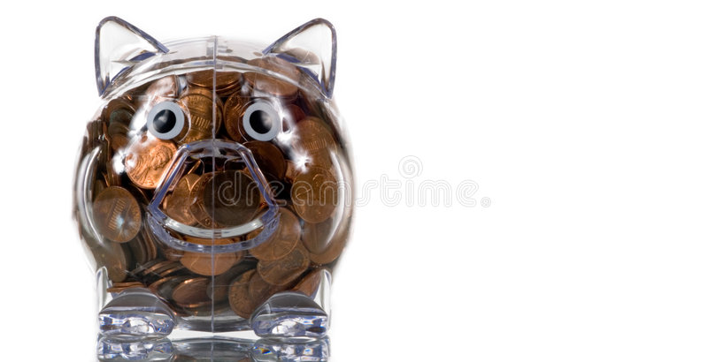 Clear Plastic Piggy Bank Full Of Pennies Royalty Free Stock Image