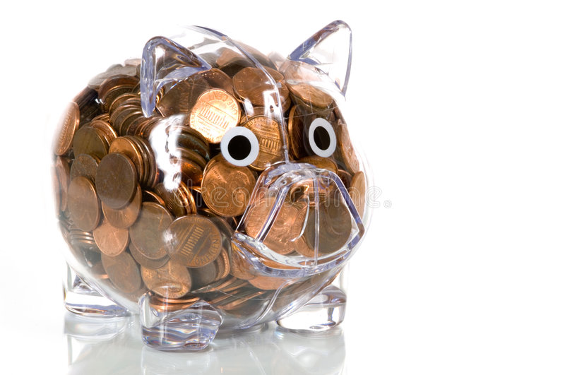 Download Clear Plastic Piggy Bank Full Of Pennies Stock Image - Image: 4534839