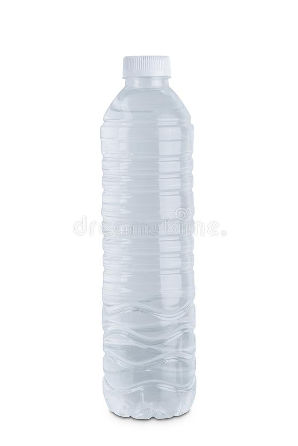 Clear plastic water bottle isolated on white background royalty free stock image