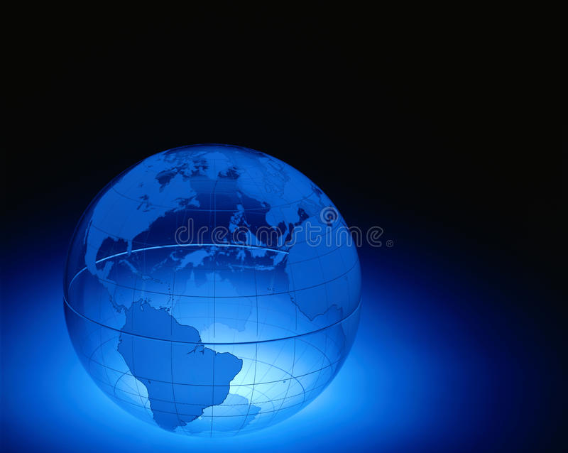 Clear plastic world globe. A plexiglas globe showing North and South America , Europe and Africa with space for copy stock images