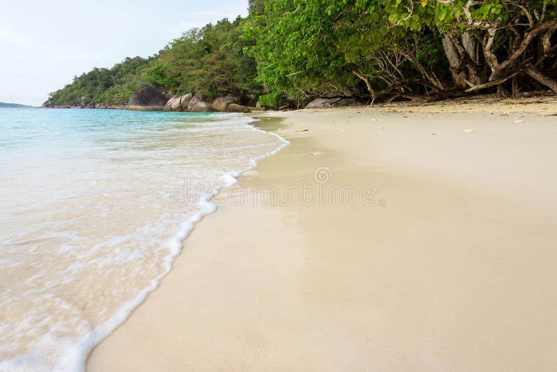 Clear sea at Mu Ko Similan in Thailand. Beautiful landscape clear water sea with small waves on the sandy beach at Honeymoon Bay during sunrise in Koh Miang royalty free stock photo