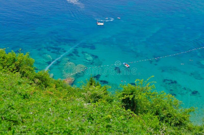 Clear sea, top view, Mogren beach stock photography