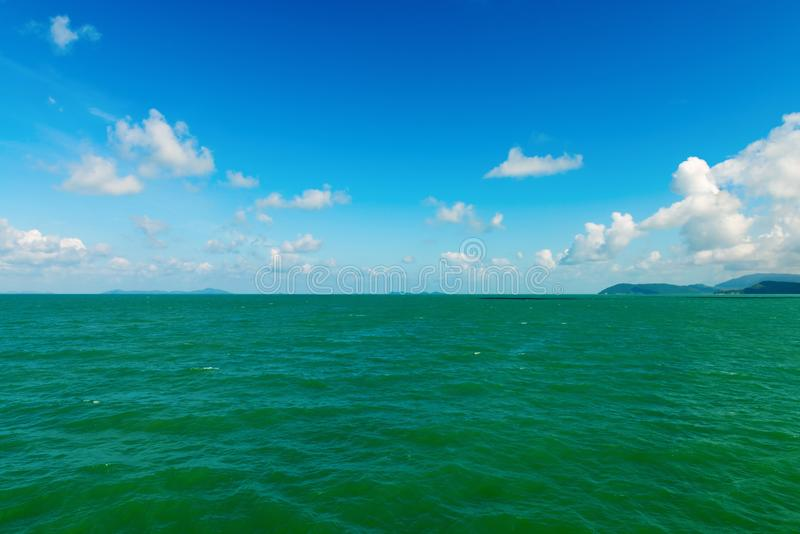 Download Seascape With Green Islands On Horizon Stock Image - Image of ocean, coast: 106387579