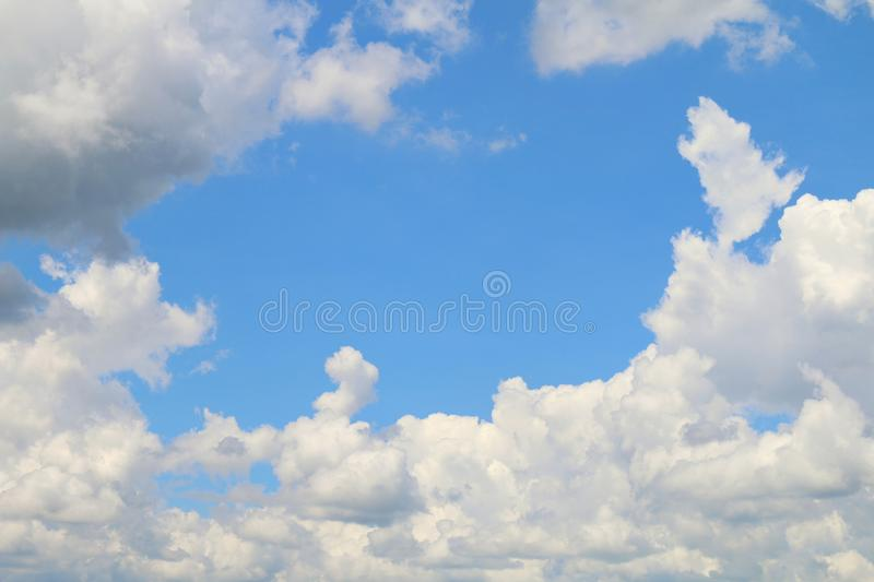 Clear sky blue and cloud white beautiful for nature background, Sky blue space middle on cloud white royalty free stock photos