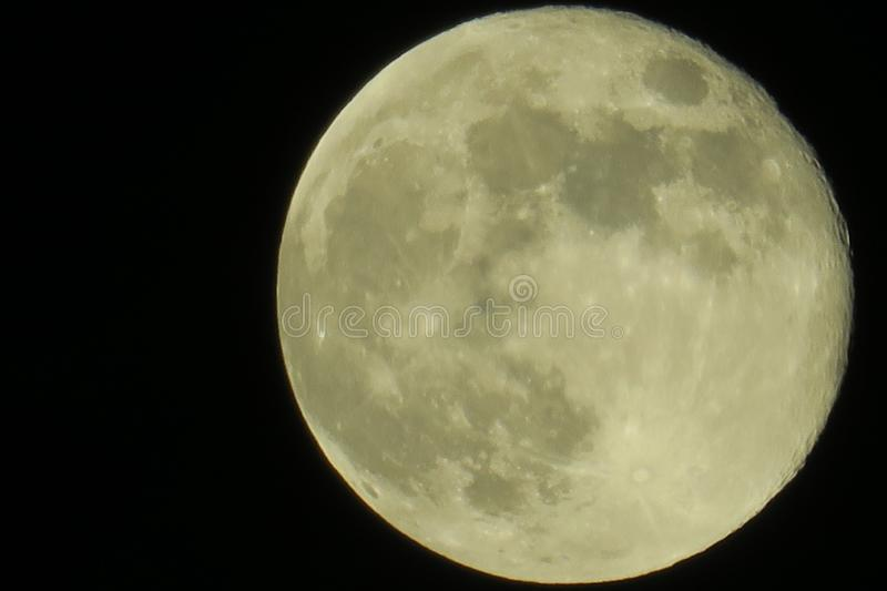 Clear sky and fullmoon at night. Clear sky and close up fullmoon at night stock photos