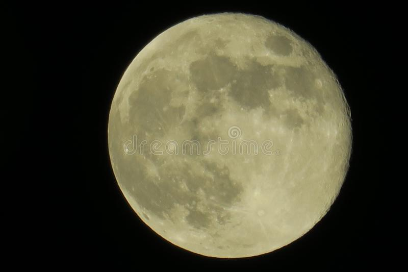 Clear sky and fullmoon at night. Clear sky and close up fullmoon at night stock photography