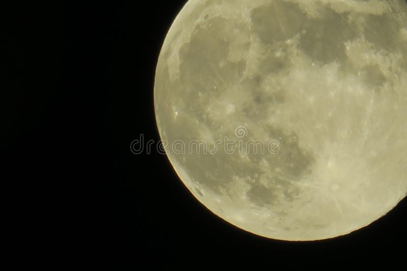 Clear sky and fullmoon at night. Clear sky and close up fullmoon at night stock image