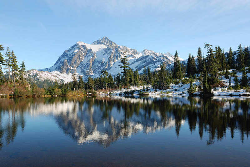 Clear sky at Picture Lake. Picture Lake with a reflection of Mount Shuksan royalty free stock photo