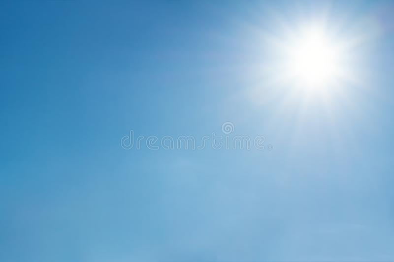 Clear sky with sun and sunrays. Daytime and good weather royalty free stock photos