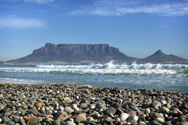 Clear-sky view of Table Mountain, Cape Town, South Africa royalty free stock image