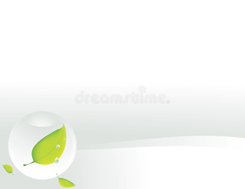 Clear sphere with leaf on white background vector illustration