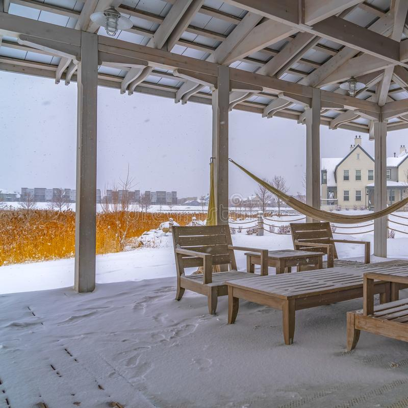 Clear Square Snowy patio of a clubhouse in Daybreak Utah stock image