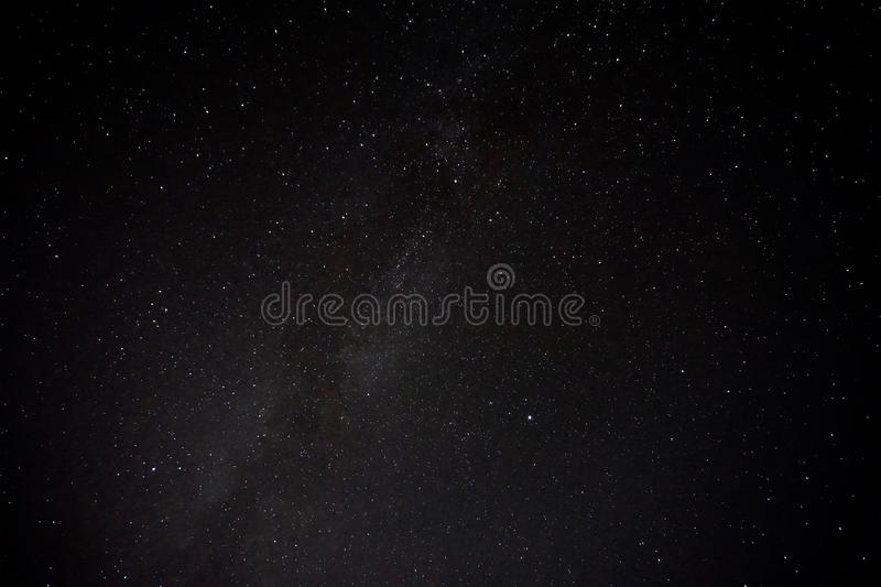 Clear starry black sky. Milky Way silhouette.  Planets, cosmos, space, many stars, nature, science, night, twilight, mystery. stock image