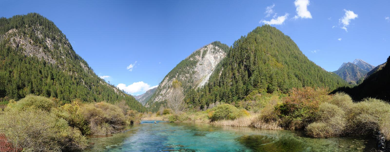 Clear stream and gree mountain royalty free stock photography