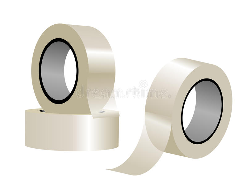 Clear tape. Isolated on a white background stock illustration