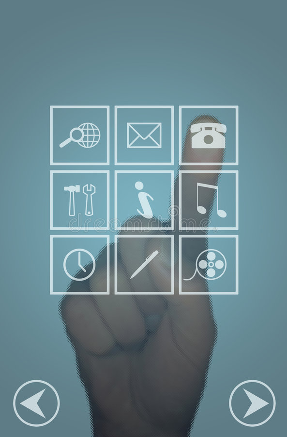 Clear touch screen menu and hand stock photos