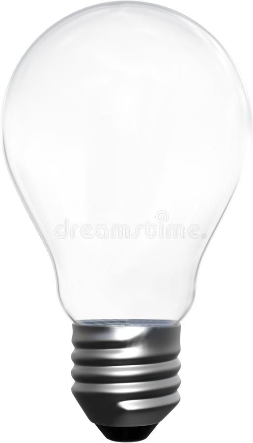 Clear Transparent Light Bulb Isolated, PNG. Illustration of a clear transparent light bulb. The lightbulb is isolated on white, PNG file available royalty free stock photos