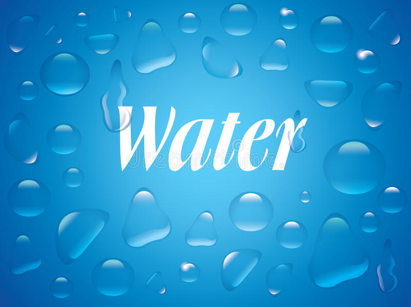 Download Clear Transparent Water Drops  On The Blue Background. Stock Vector - Image: 83713948