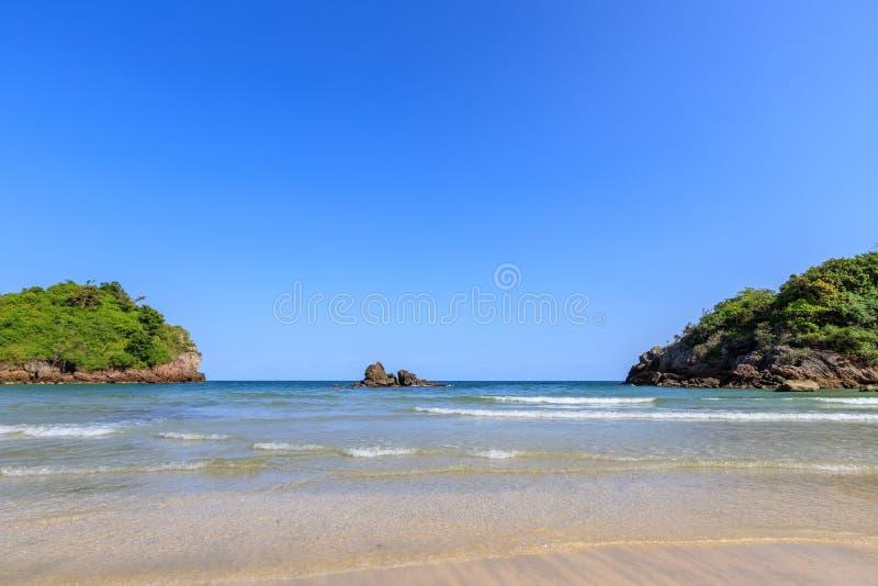Clear turquoise blue sea at Bo Thong Lang Bay, Bang Saphan district, Prachuap Khiri Khan, Thailand.  royalty free stock image