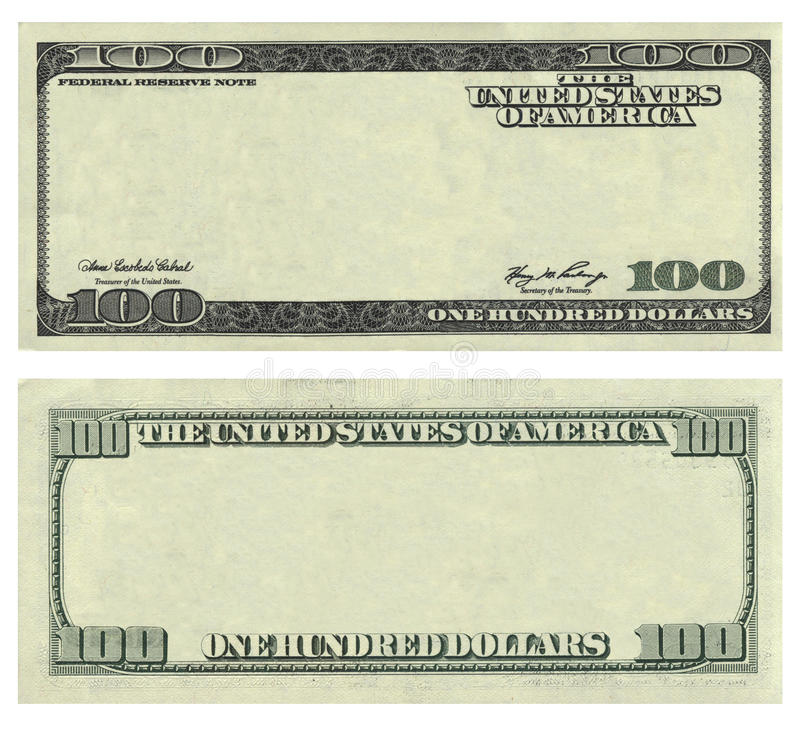 Clear 100 USA dollar banknote pattern stock photo