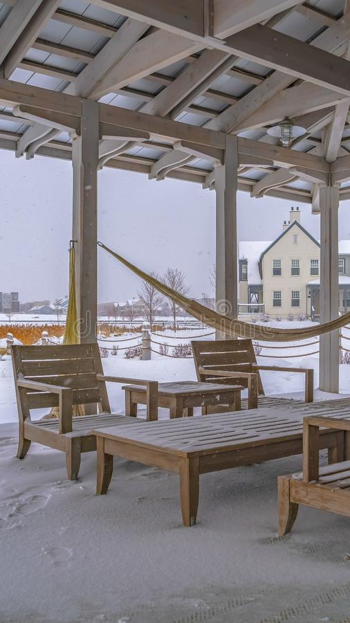 Clear Vertical Snowy patio of a clubhouse in Daybreak Utah royalty free stock photos
