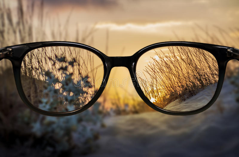 Clear vision through glasses stock photography