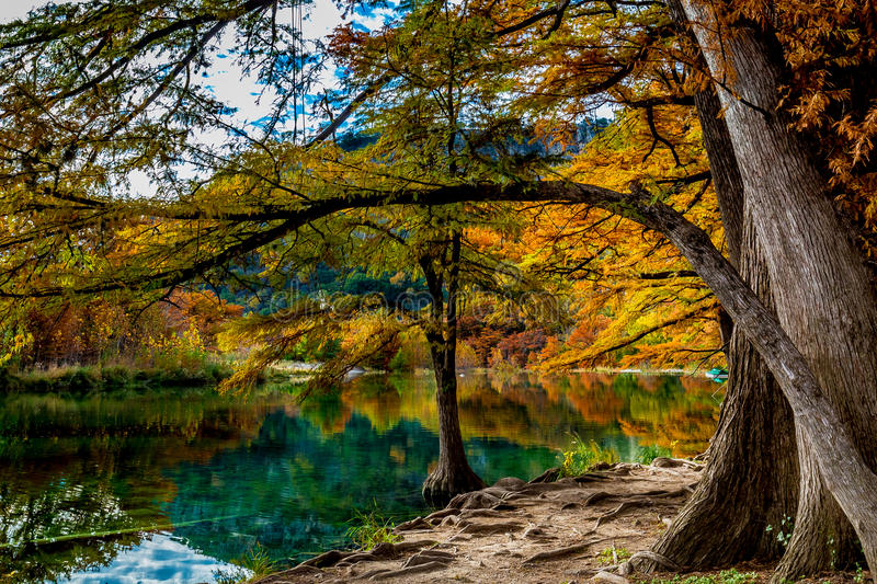 Clear Water and Bright Foliage of Garner State Park, Texas stock image