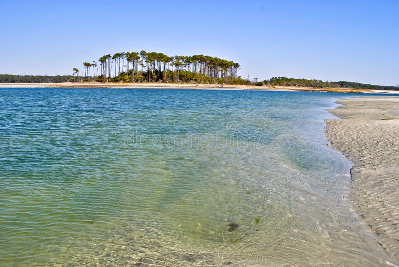 Clear water in the Carolinas. White sand that holds up the trees in the distance. Water clear that you can see straight through. Water blue and green that hugs stock image