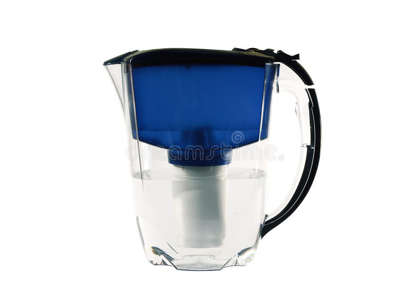 Clear water filter pitcher. Isolated on white background stock photography