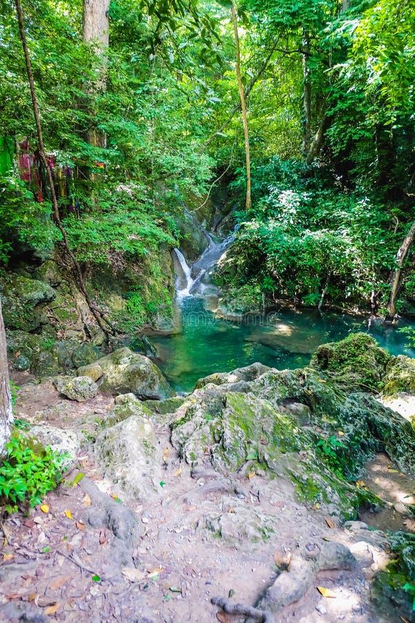 Clear water lake in erawan national park kanchanaburi. Thailand natural travel stock photo