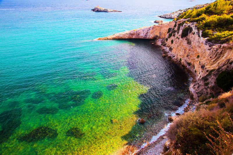 Clear water of the sea, Ibiza, Spain royalty free stock photo