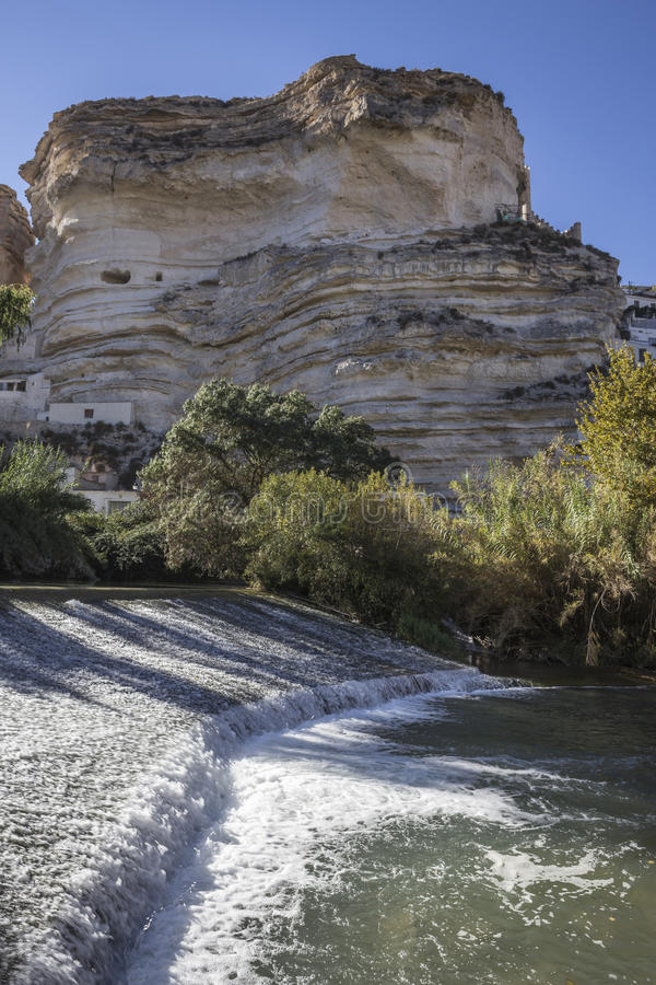 Clear waters of the river Jucar on the Roman bridge, Castle of A. Alcala del Jucar, Spain - October 29, 2016: Clear waters of the river Jucar on the Roman bridge stock photos