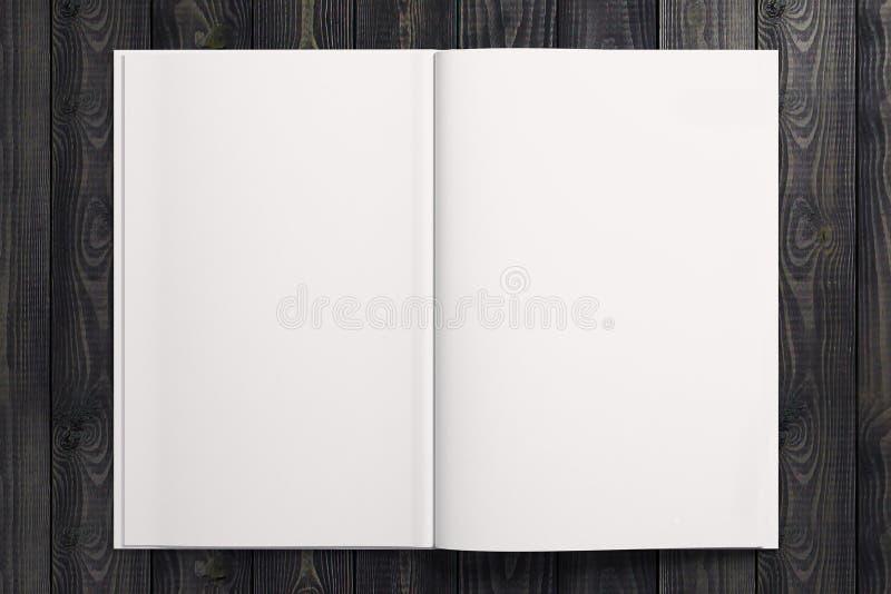 Clear white copybook on wooden desktop vector illustration