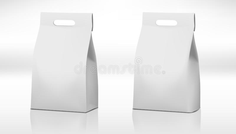Clear White Craft Paper Bag Pack With Handle royalty free illustration